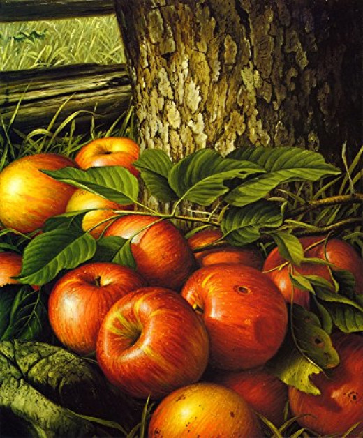Apples and Tree Trunk - by Levi Wells Prentice