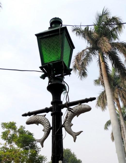Lamp-post with fish motif