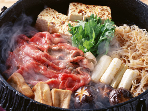 Sukiyaki is a popular one-pot meal which is usually cooked at the table as you eat. In the Kansai area of Japan, the meat is pre grilled on a skillet, as opposed to the Kanto area where it is not.