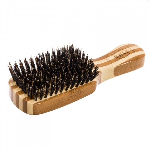 Bass Brushes Classic Men's Club Style: 100% Wild Boar Bristles, Light Wood Handle