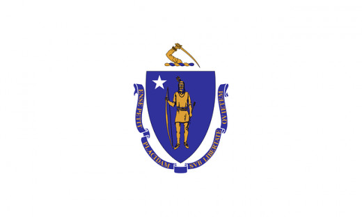 "Massachusetts Flag. ""By the Sword We Seek Peace, But Peace Only Under Liberty"""