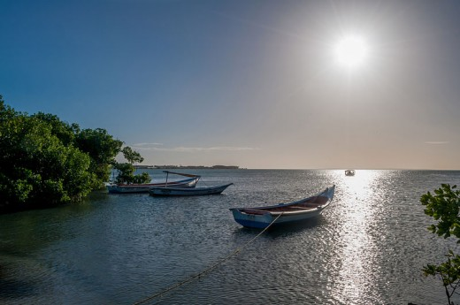 This picture looks almost like a piece of art to me, especially from a distance.  I love the light and boats.  Taken at El Guamache Bay, Margarita island