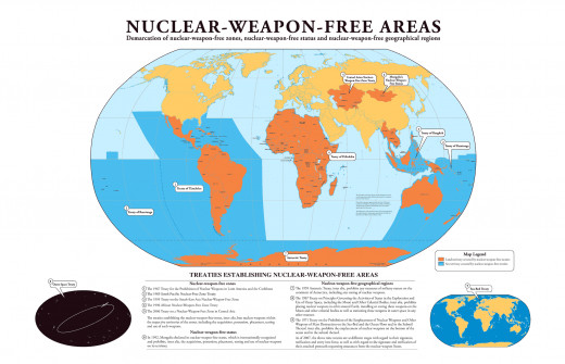 A depiction of nuclear weapon free areas.