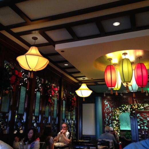 The inside of the Nine Dragon restaurant.