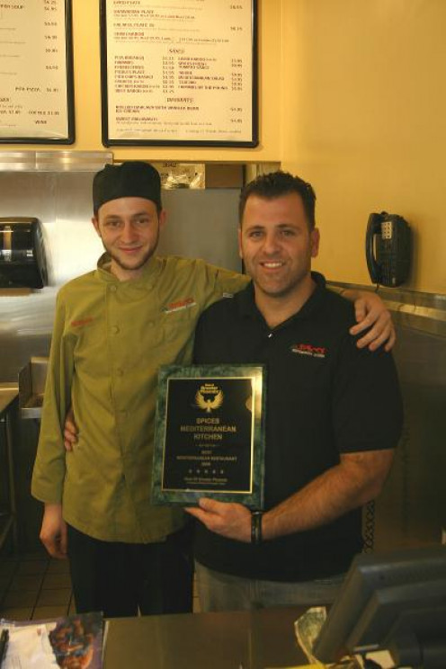 """Owner Etgar Wagner seen here with chef Morgan, Honored With The, """"Best Of Greater Phoenix',   Known As The Best Mediterran Restaurant In 2009"""