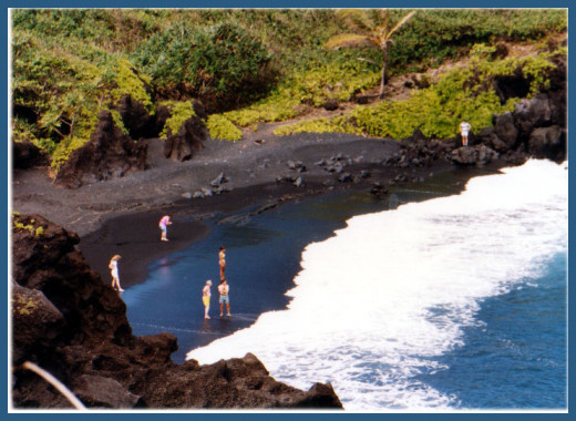 Black sand beach in Hana, Maui