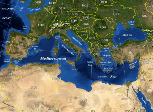 Image of a Map in English of the Mediterranean Sea.