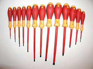 Insulated screwdrivers can be distinguished by the red and yellow coloured handles. These will protect you if there is any chance of power going through something. Always turn the power off first!