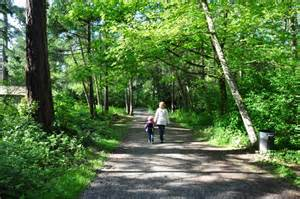 "Take a beautiful walk through the forested trails surrounding a large pond of ducks, or hike up the hill a few minutes and find ""Hidden Beach"" Road - a road blocked from traffic that winds across a train track to a private stretch of beach and trails"