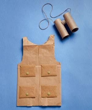 Safari Guide Vest and Gear- A paper grocery bag is a great natural material for a vest or shirt for your little one! Extra pockets taped or glued on make great places for notes, pens, and important Safari gear. Tin cans make great binoculars too!