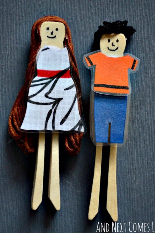 Dolls- They're not just for girls- Playing with homemade people is fun! Make them from socks, clothespins, cardboard, dough, rocks, beads, stuffed shirts and pillows, whatever you can think of.