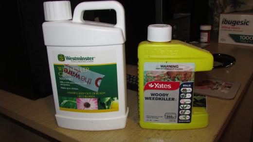 Westminster G360 broad spectrum weedkiller, and Yates Woody Weedkiller (for broadleaf)
