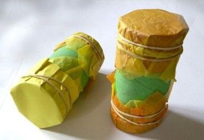 Toilet Rolls Filled with Rice as Shakers -- Paper mache tissue paper (glue, water), or use paint and newspapers to decorate and cover the ends of toilet and paper towel rolls filled with rice, seeds, rocks, nuts, beads, or other material.