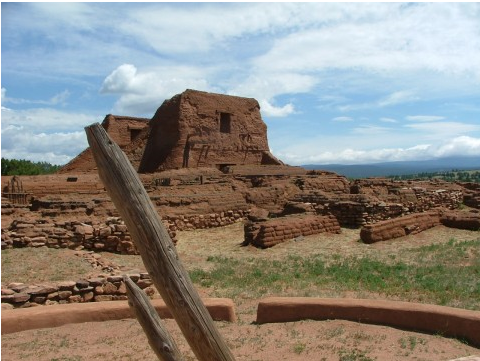 This ladder leads down into the kiva. A Catholic Spanish Mission mere yards from the entrance to the Pecos Pueblo kiva.