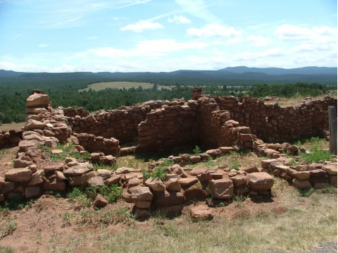 Within the Pecos Historical National Park are the remains of what once was a 2,000 strong Pueblo Indian village. It is about 25 miles southeast of Santa Fe, New Mexico.