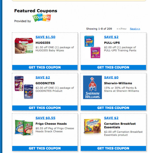 A screen shot of my computer page on Savemart coupons.