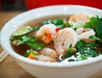 Bowl of tasty shrimp pho