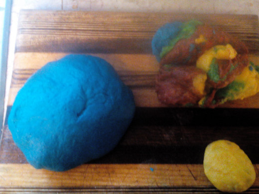Dough after Kneading. My son had already mashed up the red, yellow, and green before I got my camera ready.