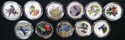 11 of the 14 Birds Of Canada coins
