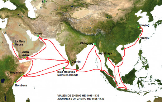 Port cities on the maritime silk route featured on the voyages of Zheng He