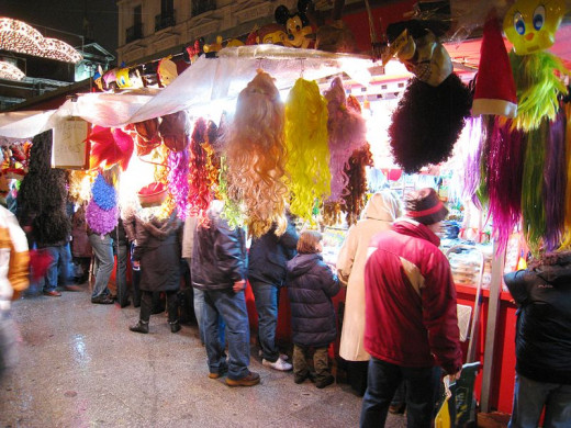 Wigs for sale at night in Madrid.