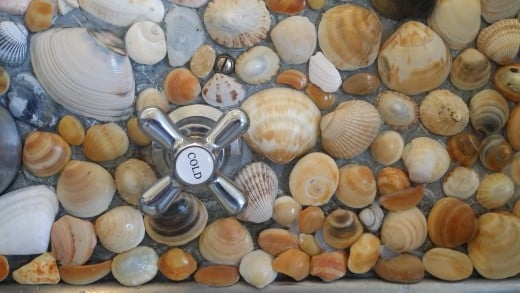 Real sea shells collected at the beach provide a colorful, durable and intriguing cover over splashback areas in the kitchen and bathroom