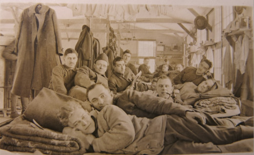 309th Field Artillery Band Members in Quarters at Camp Dix, New Jersey in 1917