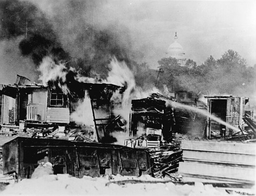 Burning Shacks of WW I Bonus Expeditionary Forces following eviction of Vets by U.S. Army in July 1932