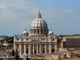 St. Peter's Basilica in Rome seen from the roof of Castel Sant'Angelo.