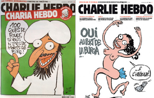 "Captions, left to right: ""100 lashes if you are not dying of laughter!"" / ""Yes, wear the burqa... on the inside!"""