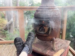 Gibson's Relaxation: Relaxing at Gibsons with iron wood stove. This was the only day that was a little bit chilly & rainy (1st day on Sunshine Coast)