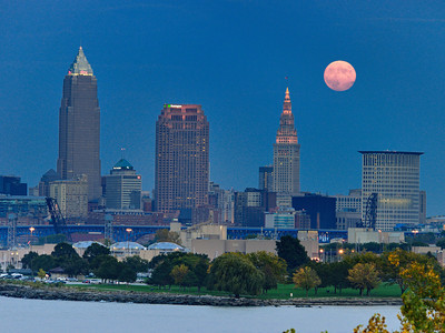 Cleveland Rocks under the Moon
