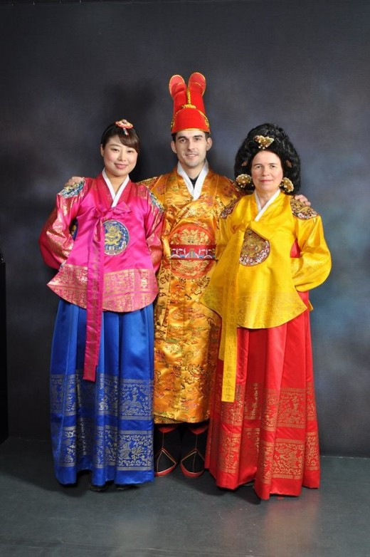 This is me on the right, with my son and his Korean girlfriend. We are dressed in the official Hanbok.