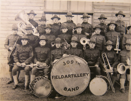 World War I 309th Field Artillery Band at Ft. Dix, New Jersey.  Walter Fraser is 5th from left in 2nd row
