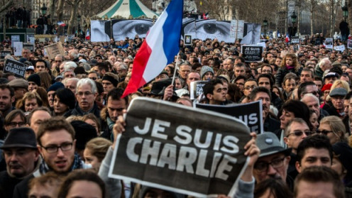 Millions in Paris, France demonstrate their solidarity with the victims of the attacks on Charlie Hebdo, and their support of the right to free speech. January 11, 2015.