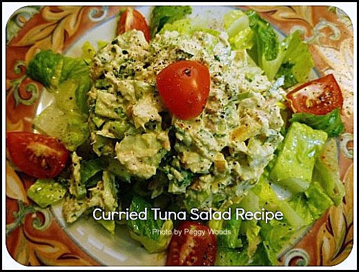 Crunchy curried tuna salad served on a bed of lettuce.