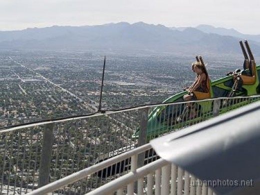 Stratosphere's outdoor observation deck and one of the thrill rides