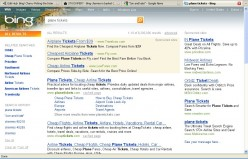 Bing searches for Plane Tickets. Note the search history at left.
