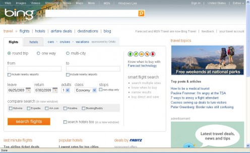 The Bing Travel Interface