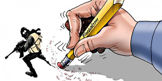 Rubbing out a terrorist with a drawing. A nice touch from cartoonist Gary Varvel