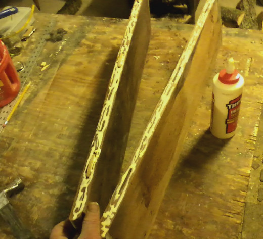 With the top ready to be glued back together, glue is applied and clamped.
