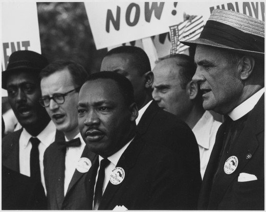 Civil Rights March on Washington, D.C. [Dr. Martin Luther King, Jr. and Mathew Ahmann in a crowd.] 28 August 1963 By Unknown or not provided (U.S. National Archives and Records Administration) [Public domain], via Wikimedia Commons
