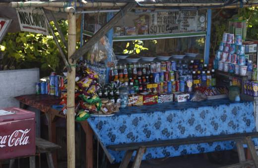 A refreshment vendor on Sanur Beach, Bali.