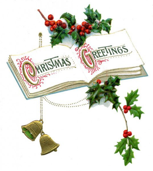 Book open to a page that offers Christmas Greetings.