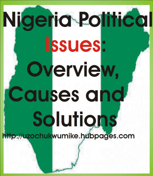 "overview, causes and solutions to Nigeria political crises or problems. The red used to design the word ""issues"" is a dangerous impression."