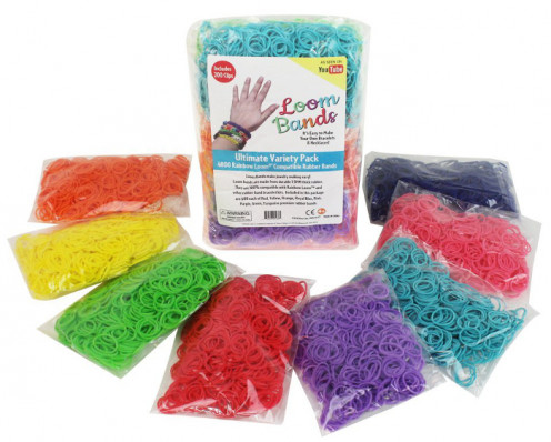 Variety of rubber bands for rainbow loom crafting