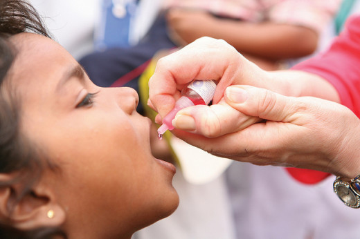 Polio immunization drive in Lucknow, Uttar Pradesh, India. Uttar Pradesh is one of the highest-risk Indian states for polio.