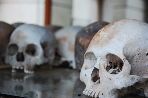 Skulls of exhumed Khmer Rouge victims on display in Cambodia.
