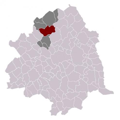Map of Quesnoy-sur-Deûle within Lille arrondissement.
