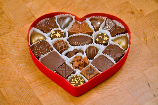Valentine's chocolates in a heart shape box.